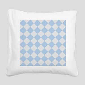Light Blue Diamond Checkered Square Canvas Pillow