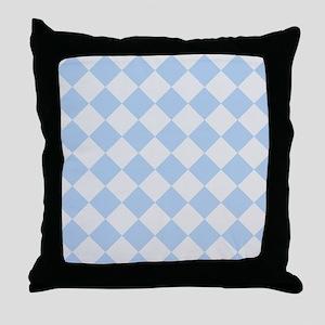 Light Blue Diamond Checkered Throw Pillow