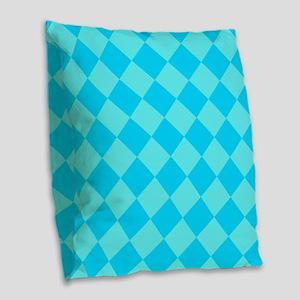 Aqua Blue Diamond Checked Burlap Throw Pillow