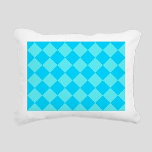 Aqua Blue Diamond Checked Rectangular Canvas Pillo