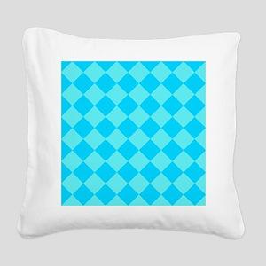Aqua Blue Diamond Checked Square Canvas Pillow