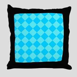 Aqua Blue Diamond Checked Throw Pillow