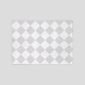 Light Grey Diamond Checkered 5'x7'Area Rug