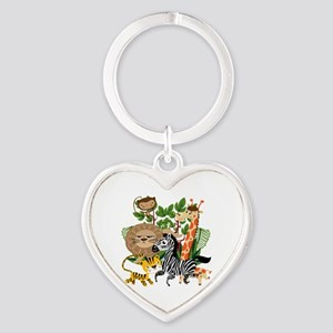 Animal Safari Heart Keychain