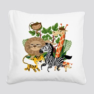 Animal Safari Square Canvas Pillow