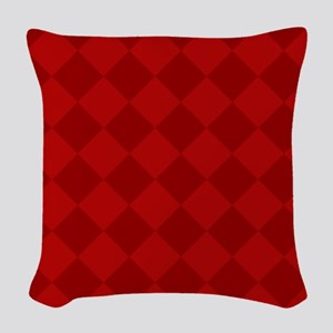 Scarlet Red Diamond Checkerboard Woven Throw Pillo