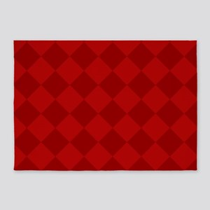 Scarlet Red Diamond Checkerboard 5'x7'Area Rug