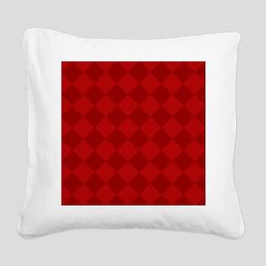 Scarlet Red Diamond Checkerboard Square Canvas Pil