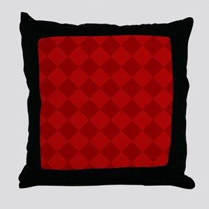 Scarlet Red Diamond Checkerboard Throw Pillow