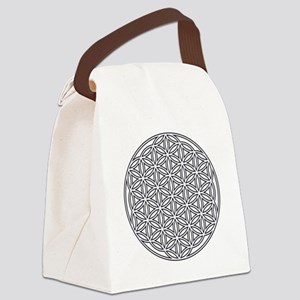 Flower of Life Single White Canvas Lunch Bag