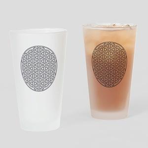 Flower of Life Single White Drinking Glass