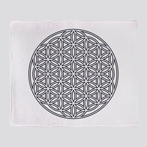 Flower of Life Single White Throw Blanket