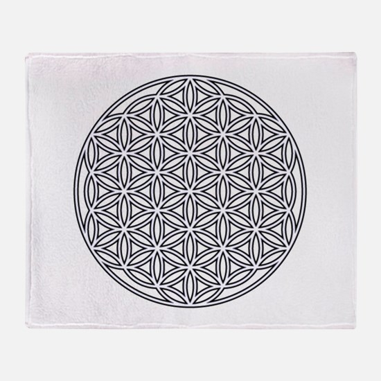 Flower of Life Single White Throw Blanket