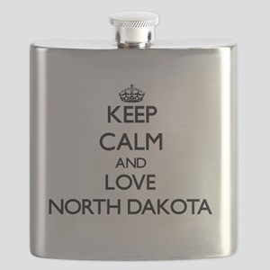Keep Calm and Love North Dakota Flask