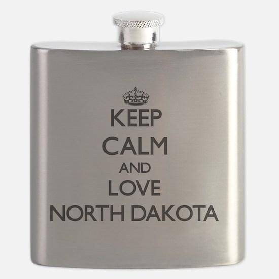 Keep Calm and Love North Dakota Flask
