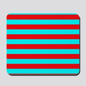 Red and Teal Striped Mousepad