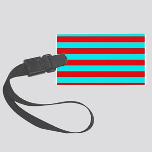 Red and Teal Striped Luggage Tag