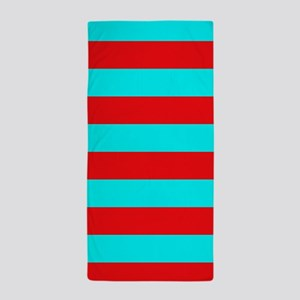 Red and Teal Striped Beach Towel
