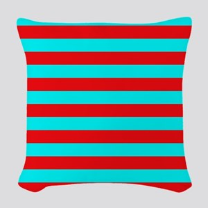 Red and Teal Striped Woven Throw Pillow