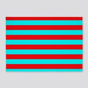 Red and Teal Striped 5'x7'Area Rug