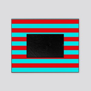 Red and Teal Striped Picture Frame