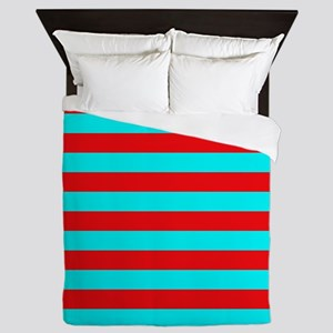 Red and Teal Striped Queen Duvet