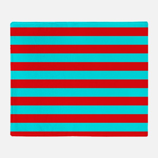 Red and Teal Striped Throw Blanket