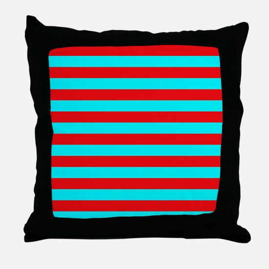 Red and Teal Striped Throw Pillow