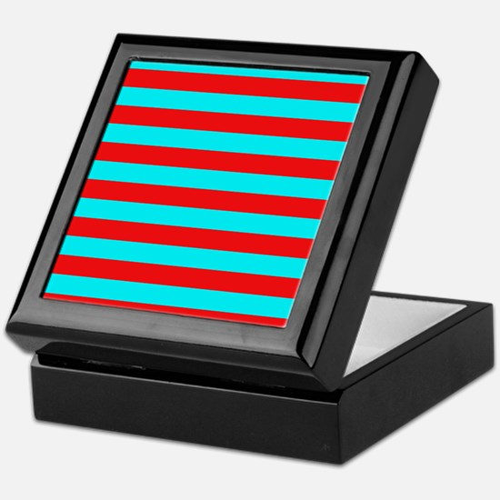 Red and Teal Striped Keepsake Box