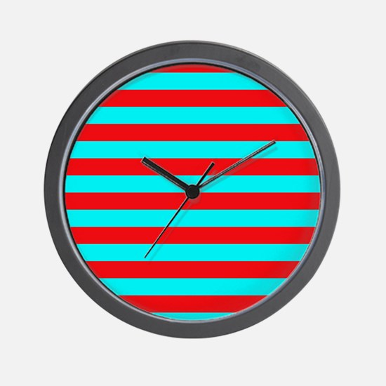 Red and Teal Striped Wall Clock