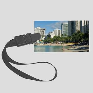 Waikiki beach pool Large Luggage Tag
