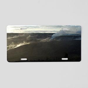 smoking volcanic landscape Aluminum License Plate