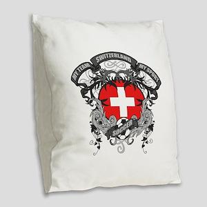 Switzerland Soccer Burlap Throw Pillow