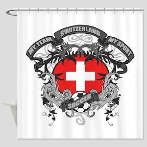Switzerland Soccer Shower Curtain