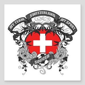 "Switzerland Soccer Square Car Magnet 3"" x 3"""
