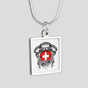 Switzerland Soccer Silver Square Necklace