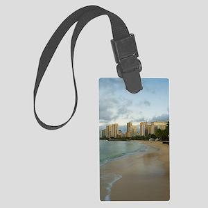Empty Waikiki beach Large Luggage Tag