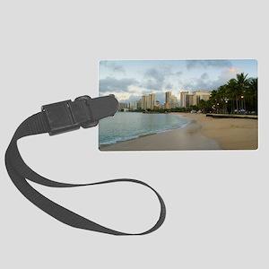 Waikiki beach early morning Large Luggage Tag