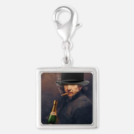 Self-portrait of Rembrandt sm Silver Square Charm