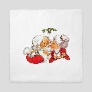 Vintage Christmas Santa Kissing Mrs Queen Duvet