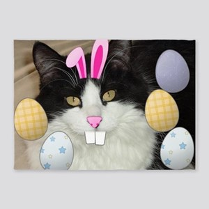 Easter Black and White Kitty Cat 5'x7'Area Rug
