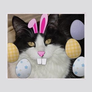 Easter Black and White Kitty Cat Throw Blanket