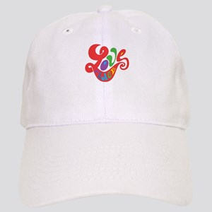 70s Hippie Love Peace Retro Script Cap