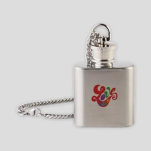 70s Hippie Love Peace Retro Script Flask Necklace