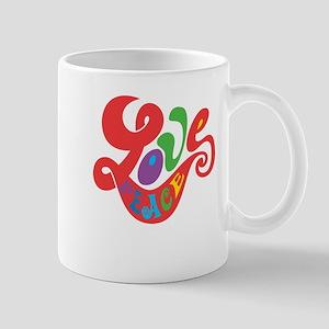 70s Hippie Love Peace Retro Script Mug