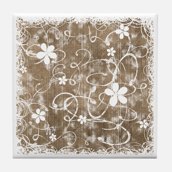 Shabby Chic Floral Tile Coaster
