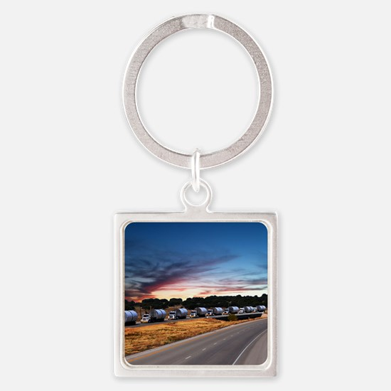 Truck Convoy1 Square Keychain