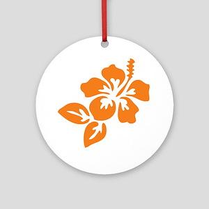 Orange Hibiscus Tropical Hawaii F Ornament (Round)