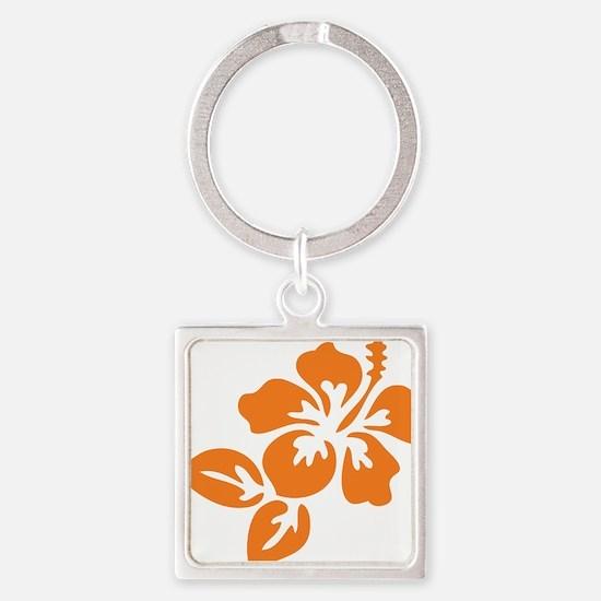 Orange Hibiscus Tropical Hawaii Fl Square Keychain