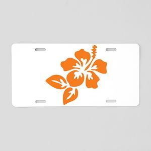 Orange Hibiscus Tropical Ha Aluminum License Plate